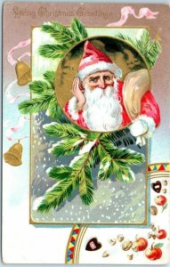 Vintage SANTA CLAUS Christmas Postcard Red Suit / Hand to Ear TUCK'S 1911 Cancel