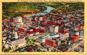 Tennessee Nashville Aeroplane View Showing State Capitol and Memorial Square