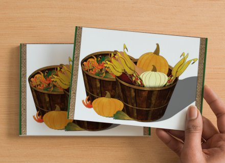 Set of 6 Digital Art Postcard The Splendor Of Autumn, Fall Arrangement, Pumpkin