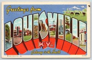 Louisville Kentucky~Large Letter Linen Postcard~Churchill Downs~Greyhound Depot