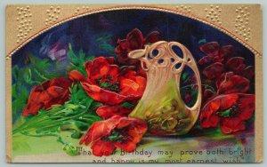 Flowers Greetings~Bright Poppies~Vase~Gold Border~c1910 Postcard