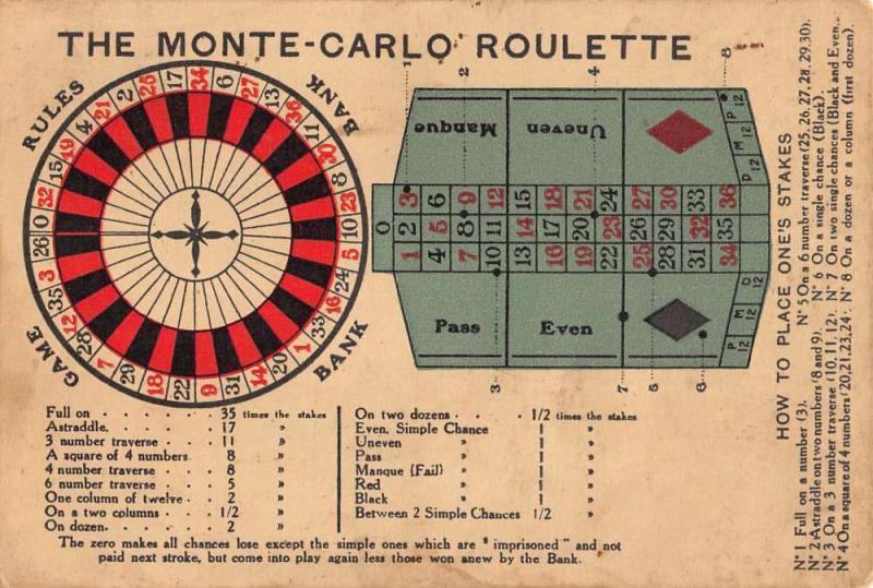 Monte Carlo Roulette Game Board Gambling Antique Postcard K7876544