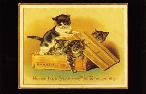 Nostalgia Postcard Edwardian Greetings Card, New Year Reproduction Card N239
