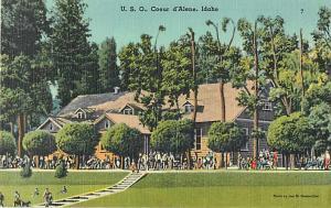 U.S.O. Coeur d'Alene Idaho ID Linen Postcard