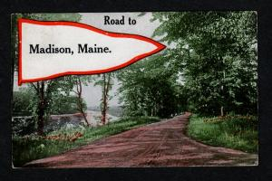 ME Road to MADISON MAINE Postcard East New Portland PC Carte Postale Vintage