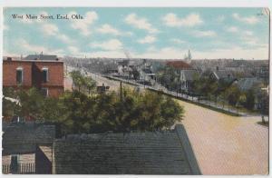 1909 ENID Oklahoma Ok Postcard MAIN STREET Homes Church Garfield County
