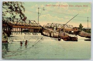 Allegan Michigan~Bridge & Small Dam on Kalamazoo River~Lady & Gent on Edge~1909