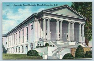 Postcard SC Greenville Buncombe Street Methodist Church c1950s Linen T18