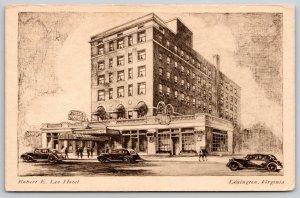 Lexington Virginia~Robert E Lee Hotel~Coffee Shop~Vintage Cars~c1910 Postcard