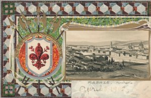 FIRENZE, Italy, 1900-10s; Panorama View, Coat of Arms