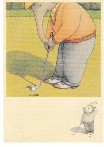 Post Card ELEPHANTS NEVER FORGET THE GOLFER Santoro Graphics Ltd. 1991 EP53