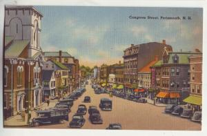 P783 old linen card many cars etc view congress strret portsmouth new hampshire