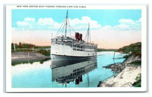 Postcard New York Boston Boat passing through Cape Cod Canal T32