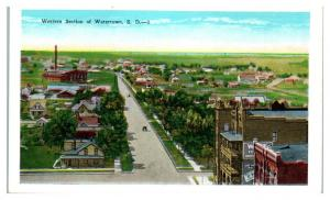 Western Section of Watertown, SD Postcard *5C