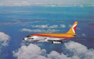 Angled Side View, Boeing 737 Passenger Airplane in Flight, C.P. Air, Canadian...