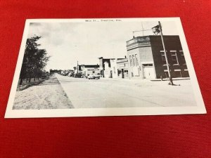 1953 Postcard PRENTICE WI Main St RPPC Fairbanks Card Co,  to Fred Titus