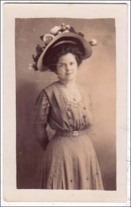 RPPC, Woman with Fancy Hat
