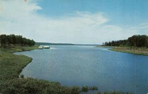LANGLEY, OK Oklahoma  GRAND LAKE from MONKEY ISLAND  Boathouses  Chrome Postcard