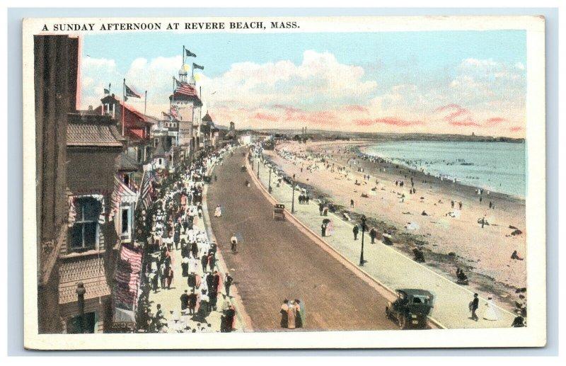 Revere Beach Mass MA Postcard A Sunday Afternoon People Car Massachusettes