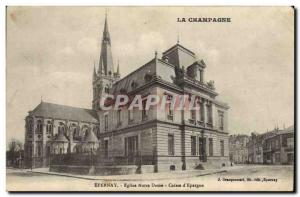Old Postcard Bank Epernay Notre Dame Church Caisse d & # 39Epargne