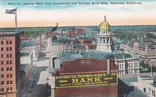 Main St., looking West from Commercial and Savings Bank Bldg., Stockton, Cali...