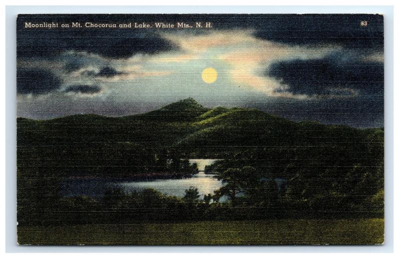 Postcard Moonlight on Mt Chocorua and Lake, White Mountains, NH linen 1942? D2