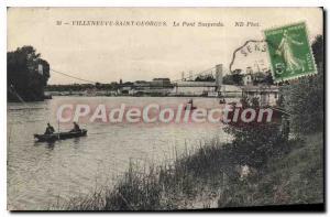 Old Postcard Villeneuve Saint Georges The Suspension Bridge