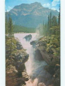 Unused Pre-1980 WATERFALL SCENE Jasper National Park Alberta AB E4230
