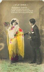 Glamour ladies head decoration early fashion postcard tuxedo dress