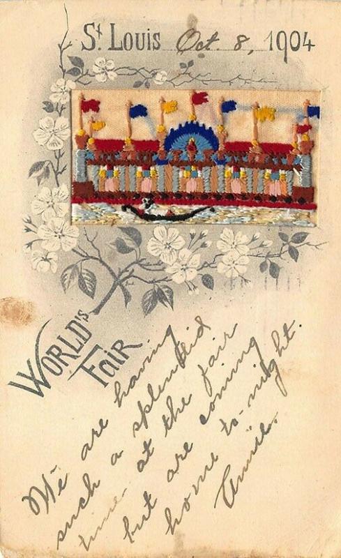 1904 St. Louis Fair Embroidered Silk Postcard