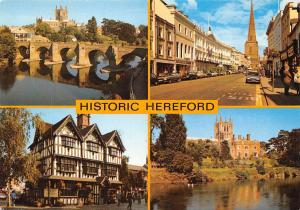 Historic Hereford, River Wye The Old House Borad Street Cathedral Cars Market