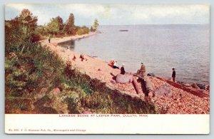 Duluth Minnesota~Lester Park~Victorians Lakeside~Lady on Rock~Gent on Log~1908