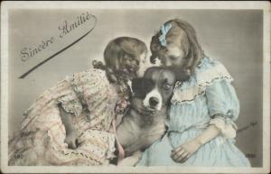 Little Girls & Their Dog French Tinted Real Photo Postcard c1910
