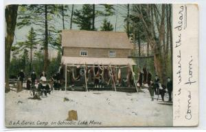 Hunting Camp Schoodic Lake Maine 1910c postcard
