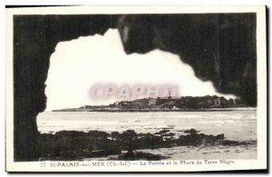 Old Postcard Saint Palais sur Mer La Pointe and Lighthouse Earth Negro