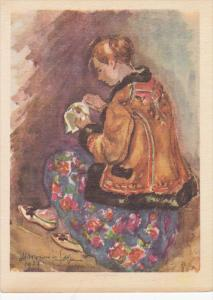 AS: Profile of Girl cross-stitching, Maria Wasowicz-Sopocko, 1957