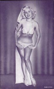Sexy Burlesque Woman Semi-Nude Arcade Exhibit Card - Purple Tint #2