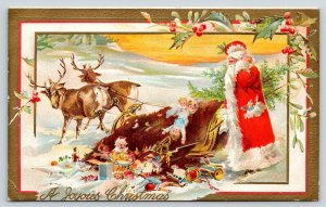 Christmas~Old Style Santa Scratches Head~Reindeer Topple Sleigh in Snow~c1908