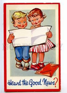 234551 Kids reading Letter by Mollie GREY Old postcard