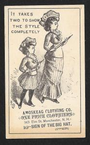 VICTORIAN TRADE CARD Amoskeag Clothing Co Sign of Big Hat