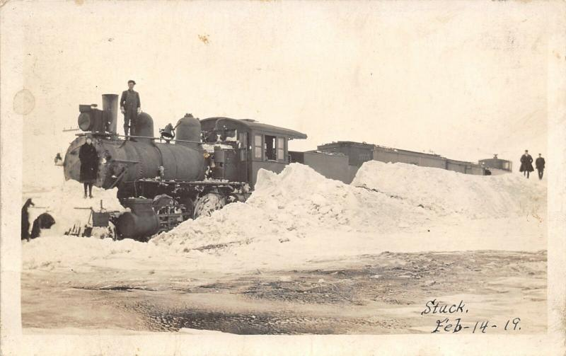 Stuck~Steam Locomotive Railroad Train in Snow~Engineer on Top~c1920s RPPC