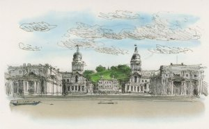Sir Christopher Wren Old Naval College Thames London Painting Postcard