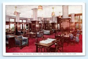 Postcard IL Chicago Marshall Field Co Dept Store Reading Writing Rest Rooms L9