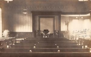 Fairbank Iowa First Methodist Church Interior~Cora Attends~1915 Real Photo~RPPC