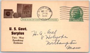 1948 Chicago Advertising Postcard U.S. SIGNAL CORPS SURPLUS Two-Way Speakers