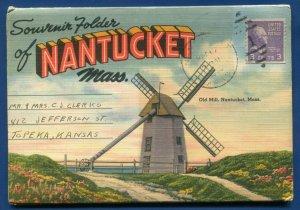 Nantucket Massachusetts Mass ma linen postcard folder