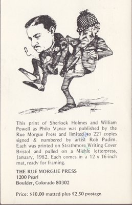 ADVERTISEMENT for the print of Sherlock Holmes & William Powell 1980s / BOULDER