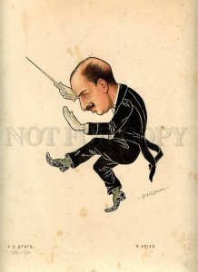 231396 RUSSIAN BALLET Legat Caricature Drigo 1903 year lithographic poster
