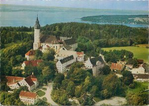 Postcard Germany Kloster Andechs am Ammersee panorama