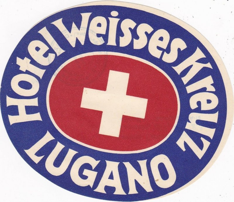 Switzerland Lugano Hotel Weisses Kreuz Vintage Luggage Label sk4149